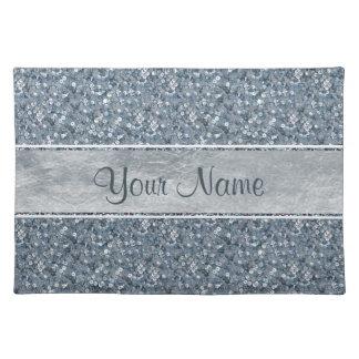 Personalized Faux Blue Sequins Glitter Silver Foil Placemat