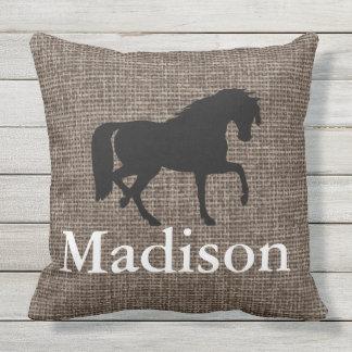 Personalized Faux Burlap Horse Silhouette Outdoor Pillow