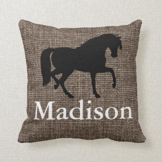 Personalized Faux Burlap Horse Silhouette Pillows