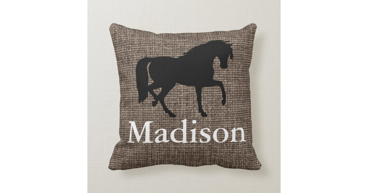 Personalized Faux Burlap Horse Silhouette Throw Pillow