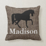"Personalized Faux Burlap Horse Silhouette Throw Pillow<br><div class=""desc"">Add your own name,  initials,  or city/town on this faux burlap texture with a horse silhouette.</div>"