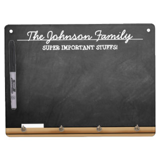 Personalized Faux-Chalkboard Dry Erase Board With Keychain Holder