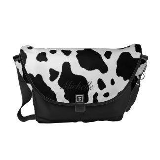 Personalized Faux Cow Hide Messenger Bag