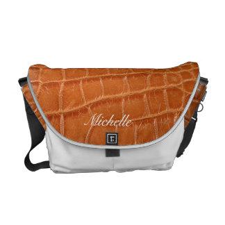 Personalized Faux Crocodile Messenger Bag