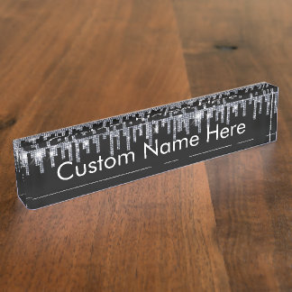 Personalized Faux Crystal Rhinestone Blink Desk Desk Name Plate