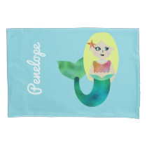 Personalized Faux Foil Blonde Mermaid Girls Pretty Pillow Case