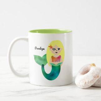 Personalized Faux Foil Blonde Mermaid Girls Trendy Two-Tone Coffee Mug