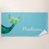 Personalized Faux Foil Mermaid Tail Ocean Girls Beach Towel