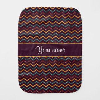 Personalized Faux Glitter Chevrons on Purple Burp Cloth