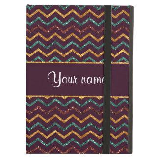 Personalized Faux Glitter Chevrons on Purple Case For iPad Air