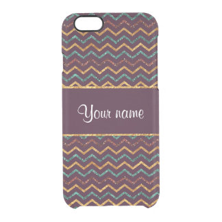 Personalized Faux Glitter Chevrons on Purple Clear iPhone 6/6S Case