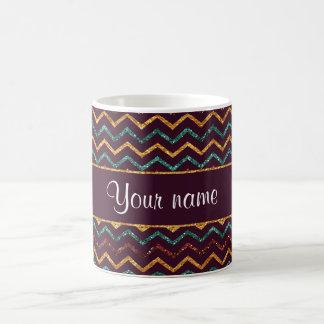 Personalized Faux Glitter Chevrons on Purple Coffee Mug