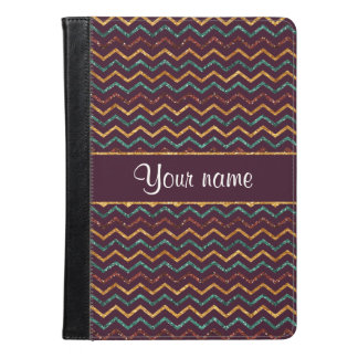 Personalized Faux Glitter Chevrons on Purple iPad Air Case