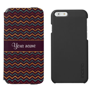 Personalized Faux Glitter Chevrons on Purple iPhone 6/6s Wallet Case