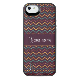 Personalized Faux Glitter Chevrons on Purple iPhone SE/5/5s Battery Case