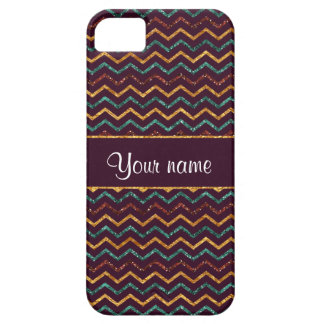 Personalized Faux Glitter Chevrons on Purple iPhone SE/5/5s Case