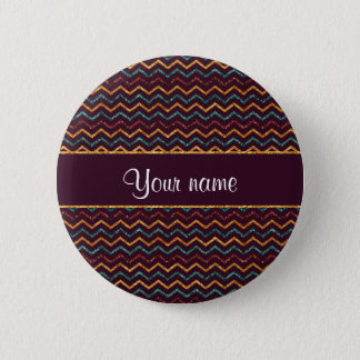 Personalized Faux Glitter Chevrons on Purple Pinback Button
