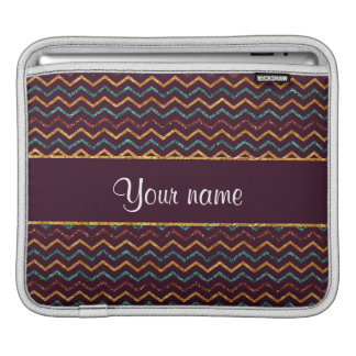 Personalized Faux Glitter Chevrons on Purple Sleeves For iPads