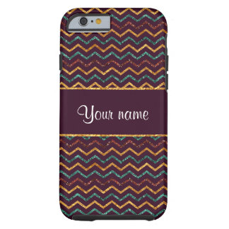 Personalized Faux Glitter Chevrons on Purple Tough iPhone 6 Case