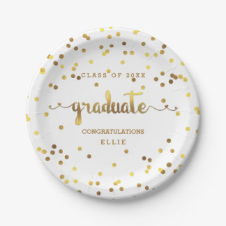 Personalized Faux Gold Foil Confetti Graduate Paper Plate