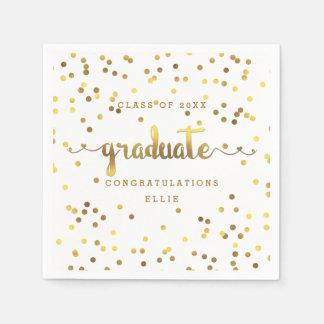 Personalized Faux Gold Foil Confetti Graduation Napkin