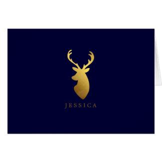 Personalized Faux Gold Foil Deer Head Card