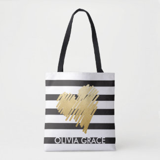 Personalized Faux Gold Heart Black Striped Tote Bag