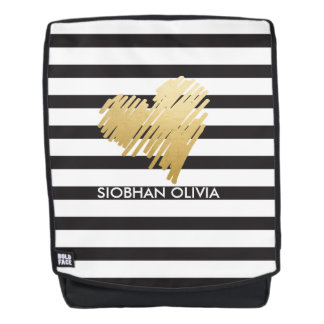 Personalized Faux Gold Heart Black White Striped Backpack