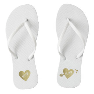 personalized faux gold love hearts with arrow flip flops