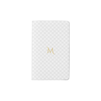 Personalized Faux Gold Monogram Check Pattern Pocket Moleskine Notebook