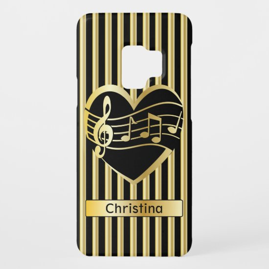 Personalized Faux Gold Music Notes Hearts Stripes Case-Mate Samsung Galaxy S9 Case