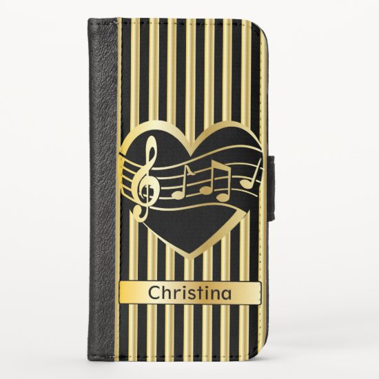 Personalized Faux Gold Music Notes Hearts Stripes iPhone XS Wallet Case