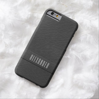 Personalized Faux Gray Leather iPhone 6 Case