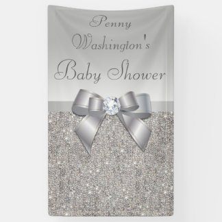 Personalized Faux Silver Sequins Bow Baby Shower Banner