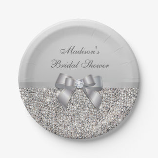 Personalized Faux Silver Sequins Bow Bridal Shower Paper Plate
