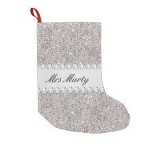 New Pick 1 White and Silver Christmas Stocking Glitter  Diamond Sequin