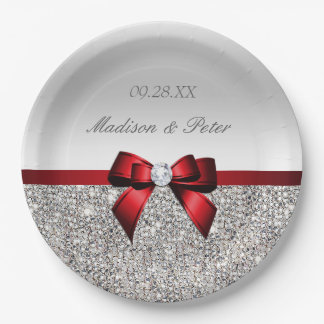 Personalized Faux Silver Sequins Red Bow Wedding Paper Plate