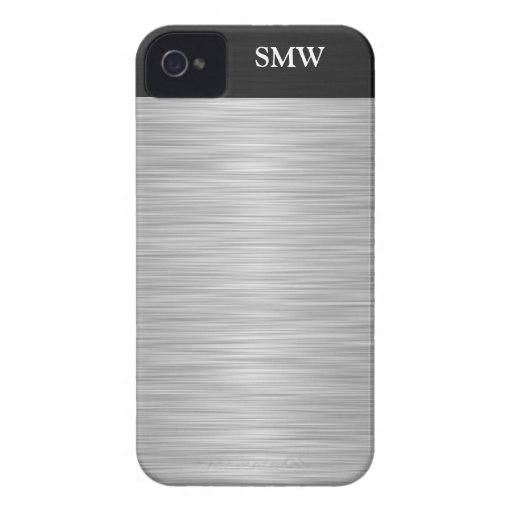 Personalized Faux Stainless Steel and Black iPhone 4 Case-Mate Cases