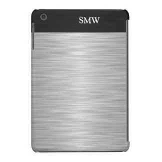 Personalized Faux Stainless Steel and Black iPad Mini Cover