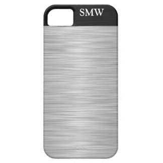 Personalized Faux Stainless Steel and Black iPhone SE/5/5s Case