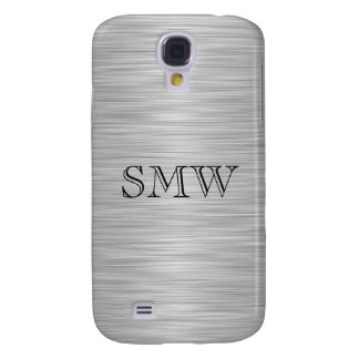 Personalized Faux Stainless Steel and Black Samsung Galaxy S4 Cover