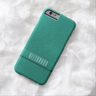 Personalized Faux Teal Leather iPhone 6 Case