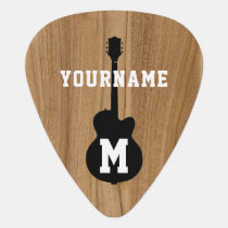personalized faux wood groverallman guitar pick