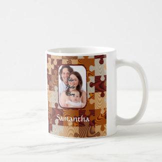 Personalized faux wood jigsaw classic white coffee mug