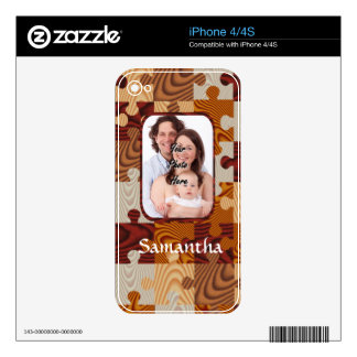 Personalized faux wood jigsaw skin for iPhone 4S
