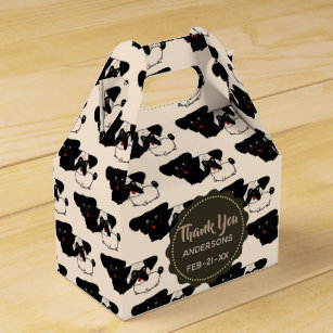 Personalized Fawn Black PUGS Favor Gable Boxes