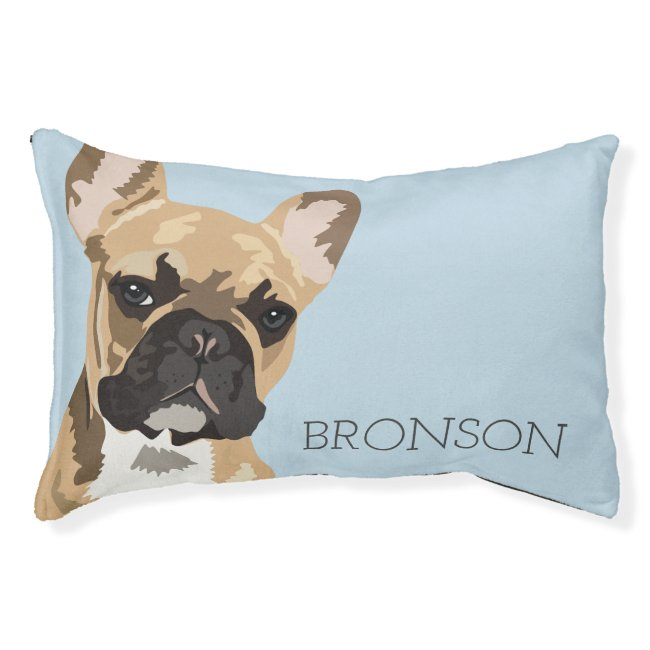 Personalized Fawn French Bulldog Pet Bed