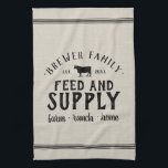 "Personalized Feed Supply Grain Sack Towel<br><div class=""desc"">Rustic faux grainsack FEED &amp; SUPPLY kitchen towel personalized with your family name, home city, established date or any other custom text. Please note the subtle burlap background texture is part of the printed design and product is not made of real burlap material. Click the Customize It button to add...</div>"