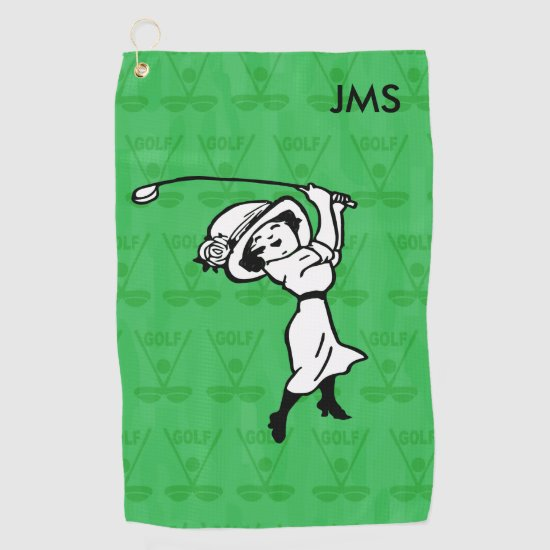 Personalized female golf cartoon golf towel