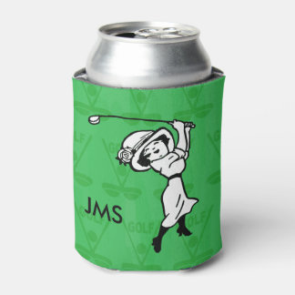 Personalized female golf cartoon golfer can cooler